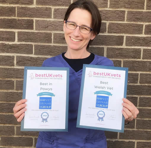 hannah with awards as best welsh vet 2021 Hay Vets